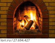 Купить «burning wooden logs in brick fireplace», фото № 27694427, снято 26 марта 2019 г. (c) PantherMedia / Фотобанк Лори