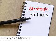 Купить «Strategic partners write on notebook», фото № 27695263, снято 17 ноября 2018 г. (c) PantherMedia / Фотобанк Лори