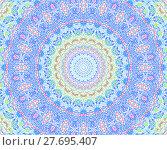 Купить «Abstract geometric seamless background. Concentric circle ornament purple, blue, light green, pink and magenta on beige, ornate and extensive.», фото № 27695407, снято 21 октября 2018 г. (c) PantherMedia / Фотобанк Лори