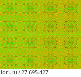 Купить «Abstract geometric seamless background. Ornate regular circles and rectangles pattern lemon lime green with elements in light brown and orange.», фото № 27695427, снято 20 июня 2018 г. (c) PantherMedia / Фотобанк Лори