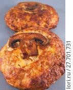Купить «Котлеты из мяса индейки с грибами после приготовления», фото № 27701731, снято 31 января 2018 г. (c) Румянцева Наталия / Фотобанк Лори