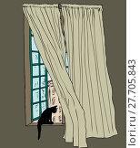 Купить «Cat in Stockholm window with blowing drapes», иллюстрация № 27705843 (c) PantherMedia / Фотобанк Лори