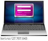Купить «Laptop Computer with Login Screen - 3D illustration», фото № 27707043, снято 26 февраля 2018 г. (c) PantherMedia / Фотобанк Лори