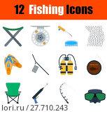 Купить «Flat design fishing icon set», иллюстрация № 27710243 (c) PantherMedia / Фотобанк Лори