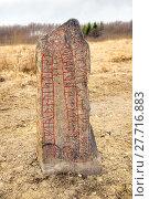 Купить «Runestone in a field», фото № 27716883, снято 20 мая 2019 г. (c) PantherMedia / Фотобанк Лори