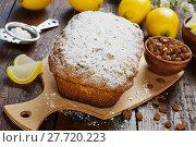 Купить «Lemon cake with sugar powder», фото № 27720223, снято 4 января 2018 г. (c) Надежда Мишкова / Фотобанк Лори