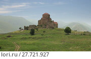 Jvari Monastery (Monastery of the Cross) stands on the rocky mountaintop near Mtskheta town, Georgia (2015 год). Стоковое видео, видеограф Алексей Кузнецов / Фотобанк Лори
