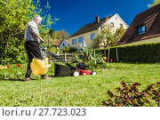 Купить «with lawnmower when mowing the lawn», фото № 27723023, снято 22 мая 2019 г. (c) PantherMedia / Фотобанк Лори