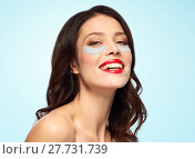 Купить «beautiful young woman with hydrogel eye patches», фото № 27731739, снято 5 января 2018 г. (c) Syda Productions / Фотобанк Лори