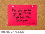 Купить «Quote written on red paper note», фото № 27732127, снято 20 июля 2018 г. (c) PantherMedia / Фотобанк Лори