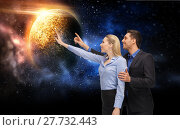 Купить «businessman and businesswoman over space», фото № 27732443, снято 17 ноября 2012 г. (c) Syda Productions / Фотобанк Лори