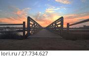 Купить «Wooden Boardwalk at sunset», фото № 27734627, снято 18 июня 2019 г. (c) PantherMedia / Фотобанк Лори