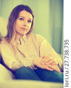 Купить «Young female feeling and spending day alone», фото № 27738735, снято 13 марта 2017 г. (c) Яков Филимонов / Фотобанк Лори