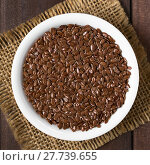 Купить «Brown Flax Seeds or Linseeds», фото № 27739655, снято 21 сентября 2019 г. (c) PantherMedia / Фотобанк Лори