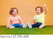Купить «Happy funny girl twins sisters playing and laughing», фото № 27741299, снято 21 июля 2018 г. (c) PantherMedia / Фотобанк Лори