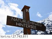 Купить «directory naturlehrweg hintersee», фото № 27743811, снято 20 июня 2019 г. (c) PantherMedia / Фотобанк Лори