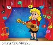 Купить «Girl guitar player on stage theme 2», фото № 27744275, снято 22 июня 2018 г. (c) PantherMedia / Фотобанк Лори