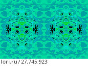 Купить «Abstract geometric seamless background. Gradient ellipses pattern in mint green, turquoise and blue gray with black, bright green and light blue elements, ornate and modern.», фото № 27745923, снято 19 февраля 2019 г. (c) PantherMedia / Фотобанк Лори