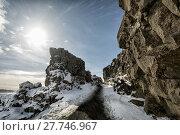 Купить «Snowy winter landscape at Pingvellir, Southern Iceland», фото № 27746967, снято 10 декабря 2018 г. (c) PantherMedia / Фотобанк Лори