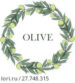 Купить «Vector frame with olive branch. Hand drawn circle frame illustration.», иллюстрация № 27748315 (c) PantherMedia / Фотобанк Лори