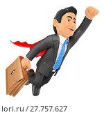 Купить «3D Super businessman flying with cape and briefcase», фото № 27757627, снято 25 июня 2019 г. (c) PantherMedia / Фотобанк Лори