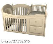 Купить «wooden crib 3d illustration», фото № 27758515, снято 20 августа 2019 г. (c) PantherMedia / Фотобанк Лори