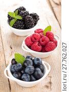 Купить «Fresh berries in bowls.», фото № 27762027, снято 14 декабря 2018 г. (c) PantherMedia / Фотобанк Лори
