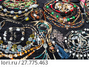 Купить «table with necklaces from natural gemstones», фото № 27775463, снято 26 июня 2019 г. (c) PantherMedia / Фотобанк Лори