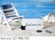 Купить «Summer Label With Deck Chair And Text Balance», фото № 27780151, снято 20 марта 2019 г. (c) PantherMedia / Фотобанк Лори