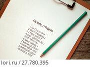 Купить «Clipboard with list of resolutions», фото № 27780395, снято 17 октября 2018 г. (c) PantherMedia / Фотобанк Лори