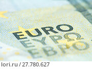 Купить «Detailed close up of a five Euro banknote», фото № 27780627, снято 22 октября 2018 г. (c) PantherMedia / Фотобанк Лори