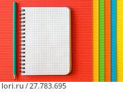 Купить «Blank notebook on corrugated paper», фото № 27783695, снято 17 октября 2018 г. (c) PantherMedia / Фотобанк Лори