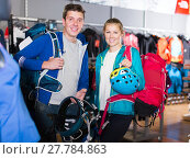 Купить «travelers are choosing travel gear», фото № 27784863, снято 25 октября 2017 г. (c) Яков Филимонов / Фотобанк Лори
