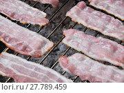 Купить «Raw smoked bacon slices cooked on bbq grill», фото № 27789459, снято 17 июля 2019 г. (c) PantherMedia / Фотобанк Лори