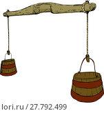 Купить «Sketch of 18th Century Yoke with Buckets», фото № 27792499, снято 16 октября 2018 г. (c) PantherMedia / Фотобанк Лори