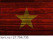 Купить «Flag of Vietnam on wood», фото № 27794735, снято 21 июля 2019 г. (c) PantherMedia / Фотобанк Лори