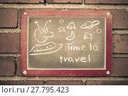 Купить «board on a brick wall with text», фото № 27795423, снято 21 марта 2019 г. (c) PantherMedia / Фотобанк Лори