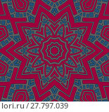 Купить «Abstract geometric seamless background. Centered star ornament gray and light blue on red.», иллюстрация № 27797039 (c) PantherMedia / Фотобанк Лори