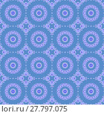 Купить «Abstract geometric seamless background. Delicate regular concentric circles pattern with floral elements in purple shades on blue gray.», фото № 27797075, снято 20 июля 2018 г. (c) PantherMedia / Фотобанк Лори