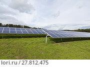 Купить «solar cells in a solar farm on green meadow», фото № 27812475, снято 11 декабря 2018 г. (c) PantherMedia / Фотобанк Лори