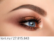 Close up of woman eye with smokey eyes makeup. Стоковое фото, фотограф Людмила Дутко / Фотобанк Лори