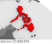 Купить «Philippines highlighted in red on model of globe. 3D illustration», фото № 27820515, снято 20 августа 2019 г. (c) PantherMedia / Фотобанк Лори