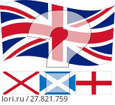 Купить «Un United Kingdom - The United Kingdom flag above the Irish, Scottish and English Flags & a Question Mark», иллюстрация № 27821759 (c) PantherMedia / Фотобанк Лори