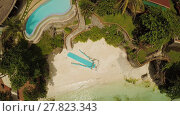 Купить «Wedding arch on the beach. Outing wedding ceremony. Aerial view of Bohol coast Island. Aerial. Philippines.», видеоролик № 27823343, снято 1 февраля 2018 г. (c) Mikhail Davidovich / Фотобанк Лори