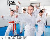 Купить «Children trying martial moves in karate class», фото № 27829491, снято 25 марта 2017 г. (c) Яков Филимонов / Фотобанк Лори