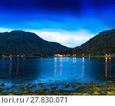 Купить «Horizontal vivid Norway fjords ocean landcape cloudscape long ex», фото № 27830071, снято 27 мая 2019 г. (c) PantherMedia / Фотобанк Лори