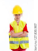 Купить «blond girl with reflective vest and helmet», фото № 27830907, снято 16 октября 2019 г. (c) PantherMedia / Фотобанк Лори