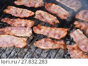 Купить «Crispy smoked bacon slices cooked on bbq grill», фото № 27832283, снято 17 июля 2019 г. (c) PantherMedia / Фотобанк Лори