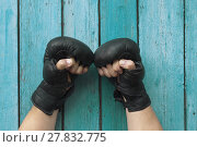Купить «Male hands in gloves for boxing», фото № 27832775, снято 11 декабря 2018 г. (c) PantherMedia / Фотобанк Лори