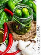 Купить «Preserving fresh cucumbers», фото № 27835047, снято 10 июля 2020 г. (c) PantherMedia / Фотобанк Лори
